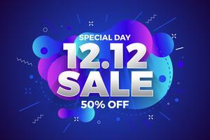 12.12 Fundo de banner de venda dia de compras. vetor