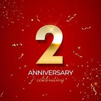 decoração de celebração de aniversário. número dourado 2 com fitas de confete, brilhos e serpentina em fundo vermelho. ilustração vetorial vetor