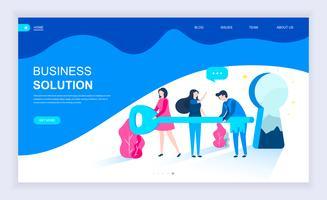 Conceito moderno design plano de solução de negócios