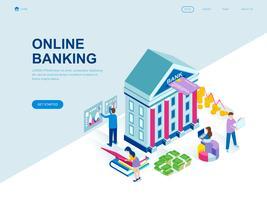 Conceito isométrico moderno design plano de banca on-line vetor