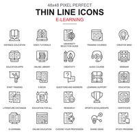 Linha fina educação on-line e-learning e-book conjunto de ícones vetor