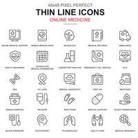 Linha fina de saúde e medicina, ícones de equipamentos médicos
