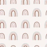 arco-íris boho. padrão de arco-íris sem costura com pontos e linhas de dois tamanhos em um fundo claro vetor