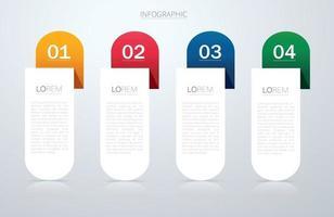 template gráfico de informação com 4 opções. pode ser usado para web, diagrama, gráfico, apresentação, gráfico, relatório, infográficos passo a passo vetor