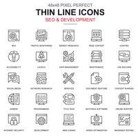 Conjunto de ícones de SEO e desenvolvimento de linha fina vetor