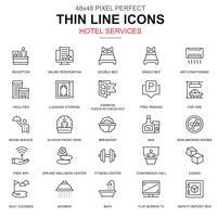 Serviços de hotel de linha fina e instalações, conjunto de ícones de reservas on-line
