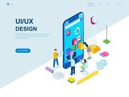 Conceito isométrico moderno design plano de UX e Design de interface do usuário vetor