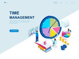 Conceito isométrico moderno design plano de gerenciamento de tempo vetor