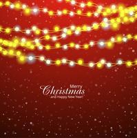 Cartão de Natal feliz decorativo com lâmpada colorida backgro vetor