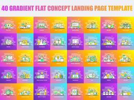 Conjunto de modelos de página de destino de design de linha plana