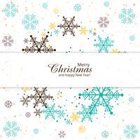 Floco de neve colorido feliz Natal cartão fundo vector