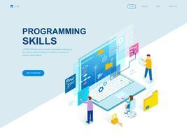 Conceito isométrico moderno design plano de habilidades de programação vetor