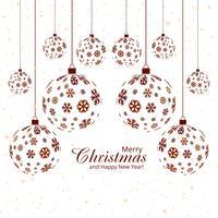 Feliz Natal floco de neve bola festival fundo vetor