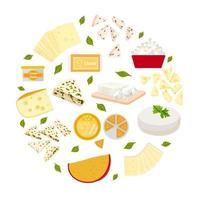 conjunto de ilustração colorida de vetor de diferentes tipos de queijos.