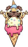 cão pug feliz prestes a comer casquinha de gelado vetor