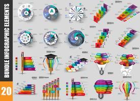 Visualização de dados de elementos de infográfico de pacote vetor