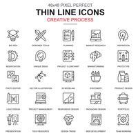 Linha fina de processo criativo e conjunto de ícones de fluxo de trabalho do projeto vetor