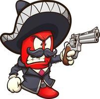 chili segurando revólver vetor
