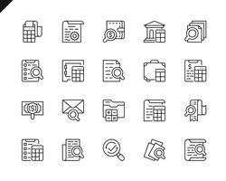 Conjunto simples de ícones de linha do vetor relacionados com contabilidade