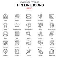 Conjunto de ícones básicos de linha fina vetor