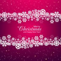 Feliz Natal floco de neve cartão fundo vector