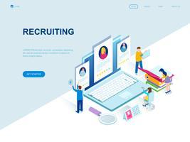 Conceito isométrico moderno design plano de recrutamento