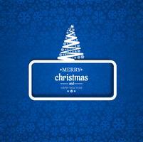 Cartão de árvore de Natal feliz com fundo de floco de neve vetor