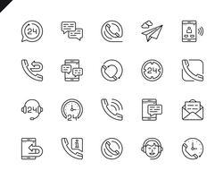 Conjunto simples de processamento relacionados com ícones de linha do vetor