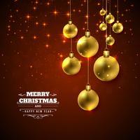 Feliz Natal brilhante bola festival colorido fundo vetor