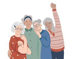 poder da vovó - grupo de mulheres idosas vetor