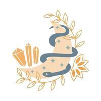 lua mística com cristal, estrelas, cobra, folhas isoladas no fundo branco. místico e mágico, ilustração do vetor de astrologia. design para camisetas, bolsas, cartão, pôster, convite