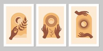 conjunto de fundo moderno estético boho com mão, folha, sol, lua, arco. conceito inspirado no ocultismo esotérico, espiritual e wicca. design para cosméticos, joias, produtos feitos à mão, gráfico de camisetas, cartões vetor