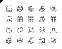 Conjunto simples de trabalho em equipe relacionados com vetor linha de ícones