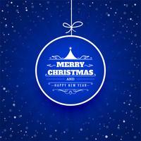 Cartão de feliz Natal com ilustração de fundo de bola vetor