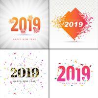 Projeto de coleção de fundo moderno feliz ano novo 2019 vetor