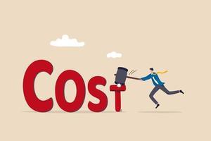 redução de custos, negócios e empresa para manter o custo baixo, cortar gastos ou dedução de despesas no conceito de plano de orçamento, empresário cfo reduzir custo por martelo t prego do alfabeto na palavra custo. vetor