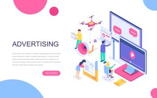 Conceito isométrico moderno design plano de publicidade vetor