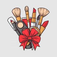 maquiar e maquiar pincéis e ferramentas vetor