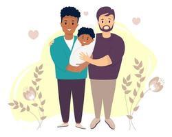 dia dos pais, um homem gay está adotando uma criança dois homens felizes, de pele escura e pele clara, segurando um recém-nascido vetor