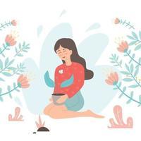 mulher cuida de plantas em vasos de flores plana personagem de desenho animado vetor