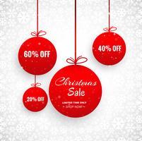 Cartão de feliz Natal com design de venda de bola decorativa vetor