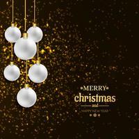 Merry christmas card bola decorativa com brilhos de fundo vetor