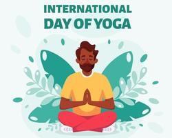 homem negro meditando na posição de lótus. dia internacional da ioga vetor