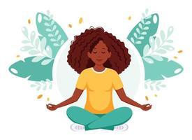 mulher afro-americana, meditando em posição de lótus. estilo de vida saudável, ioga, relaxe. vetor