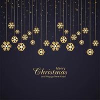 Elegante feliz Natal decorativa com fundo de floco de neve vetor