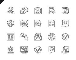 Conjunto simples de aprovar ícones de linha do vetor relacionados
