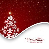 Árvore de Natal feliz com fundo festival de cartão vetor