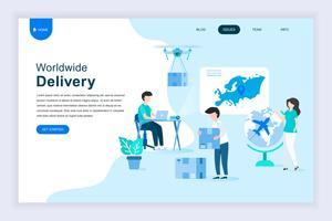 Conceito moderno design plano de entrega em todo o mundo