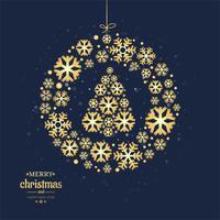Merry christmas card bola decorativa com design de floco de neve vetor