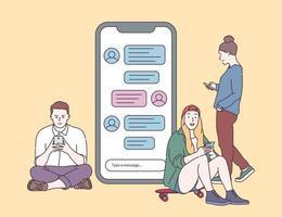 chat em grupo mensagens de bate-papo conceito de comunicação on-line jovens falando, digitando, conversando com telefones ilustração vetorial plana vetor